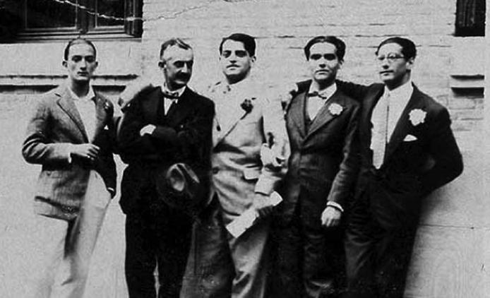 Salvador Dalí, José Moreno Villa, Luis Buñuel, Federico García Lorca y José Antonio Rubio Sacristán en 1926.