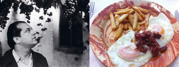 Un joven Rafael Alberti y un plato de huevos con jamón y papas fritas.