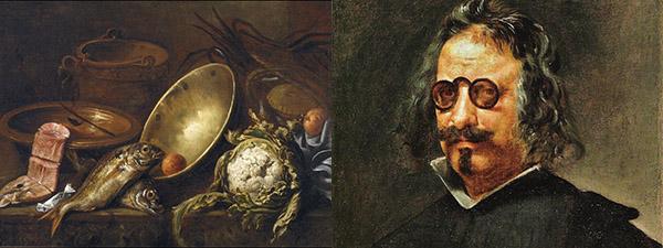 Bodegón pintado en 1651 por Antonio de Pereda y retrato de Quevedo por Juan van der Hamen.