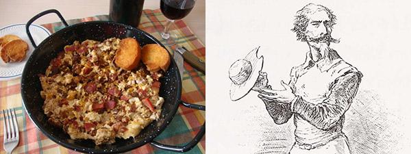 Un plato de duelos y quebrantos y un dibujo del Quijote de una edición del siglo XIX.
