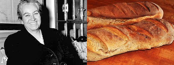 Gabriela Mistral y dos respetables hogazas de pan.
