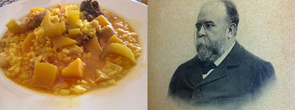 Un plato de «arròs en fesols i naps» y uno de sus mayores defensores, Teodor Llorente.