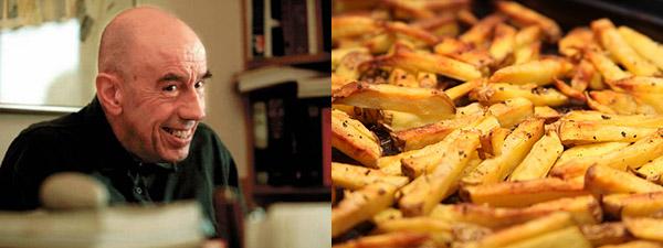 Miquel Martí i Pol y un plato de patatas fritas.