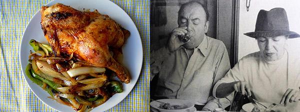 Un apetitoso pollo asado y una imagen del poeta Pablo Neruda disfrutando de los placeres de la mesa.