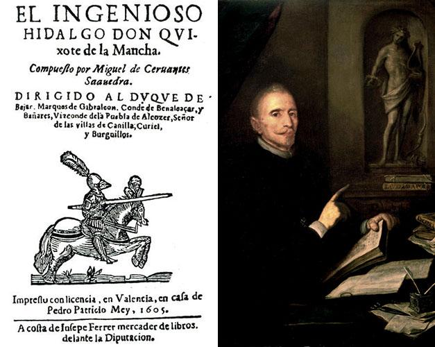 Portada del Quijote de Avellaneda y retrato anónimo de Lope de Vega.