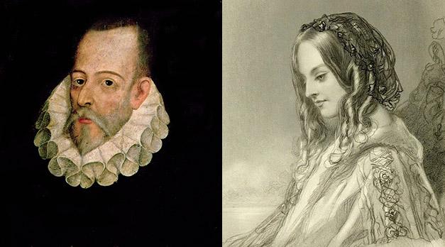 Miguel de Cervantes y un retrato idealizado de Catalina de Salazar.