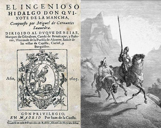 Portada de la primera edición de El Quijote y grabado de Gustave Doré con los dos protagonistas del libro.