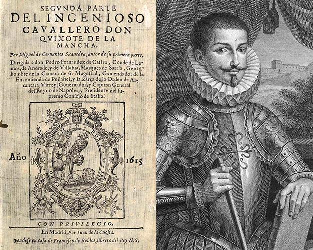 Portada de la segunda parte de El Quijote escrita por Cervantes y un retrato del Conde de Lemos.