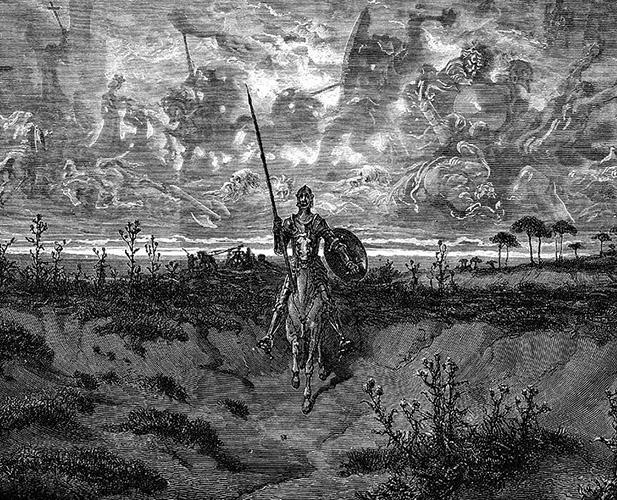 Don Quijote en su primera salida como caballero andante. Grabado de Gustave Doré.