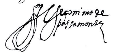 Firma de Jerónimo de Pasamonte.