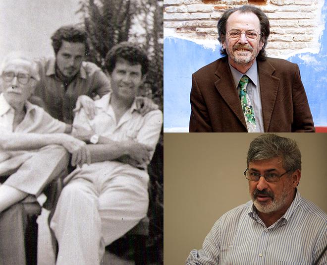 En la imagen de la izquierda, Juan Gil Albet, Pedro J. de la Peña y César Simón. Arriba a la derecha, Josep Piera y debajo, Jenaro Talens.