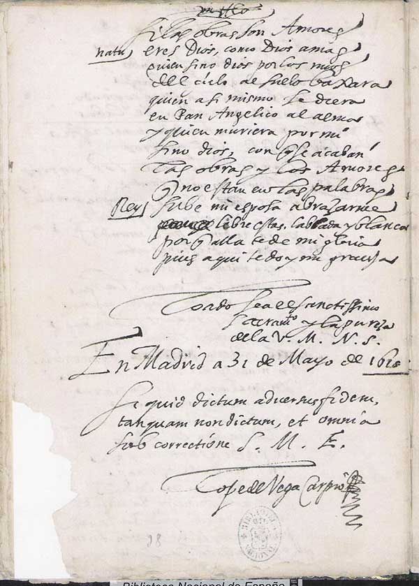 Manuscrito de Lope de Vega.