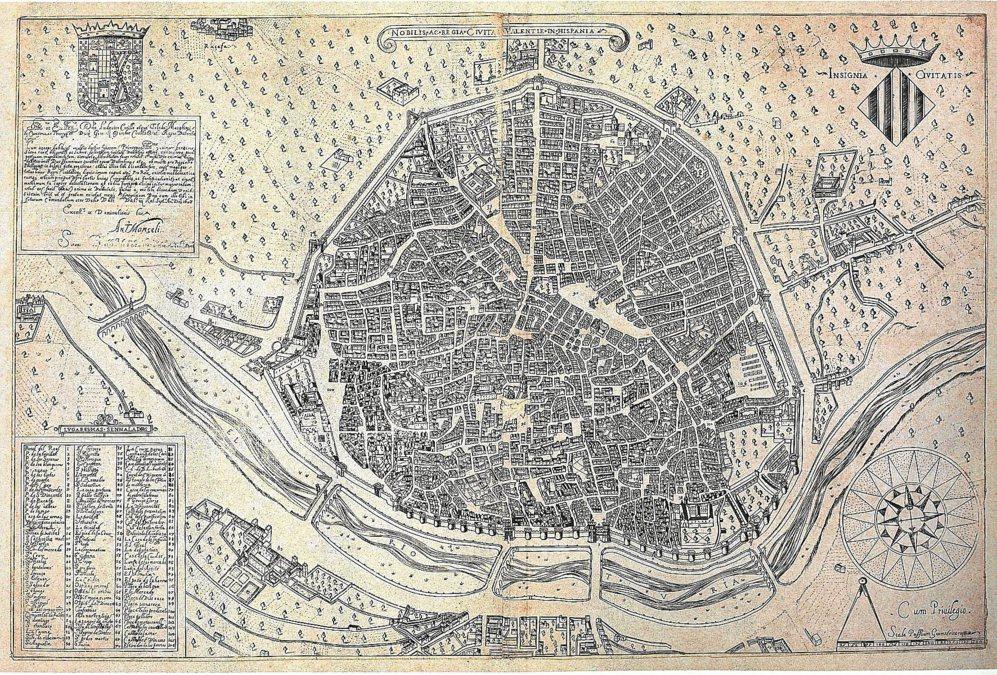 Valencia según el plano de Antonio Mancelli, fechado en 1695.