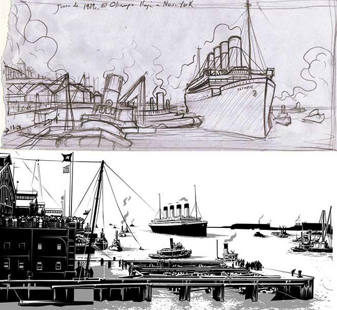 Boceto e imagen definitiva del barco que llevó a Lorca a Estados Unidos llegando al puerto de Nueva York.