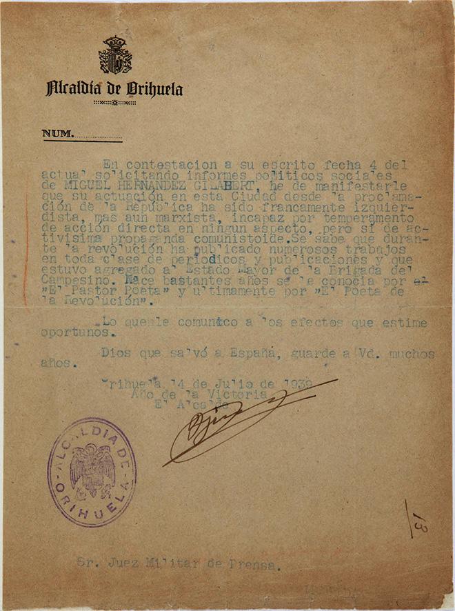 Carta del alcalde de Orihuela denunciando a Miguel Hernández.