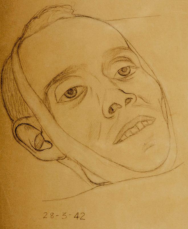 Miguel Hernández amortajado en un dibujo atribuido a Eusebio Oca.