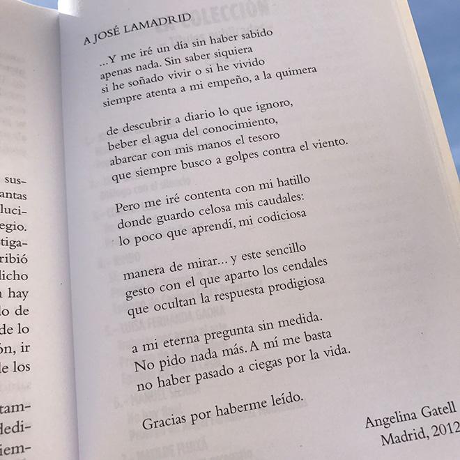 Otro poema de despedida, dedicado por Angelina Gatell a José Lamadrid.