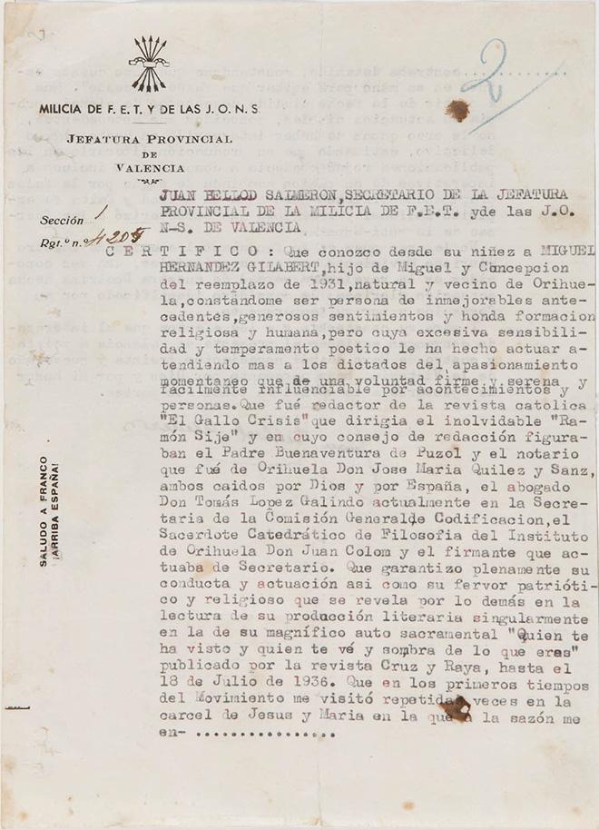 Primera página del escrito de Juan Bellod Salmerón en favor de Miguel Hernández.