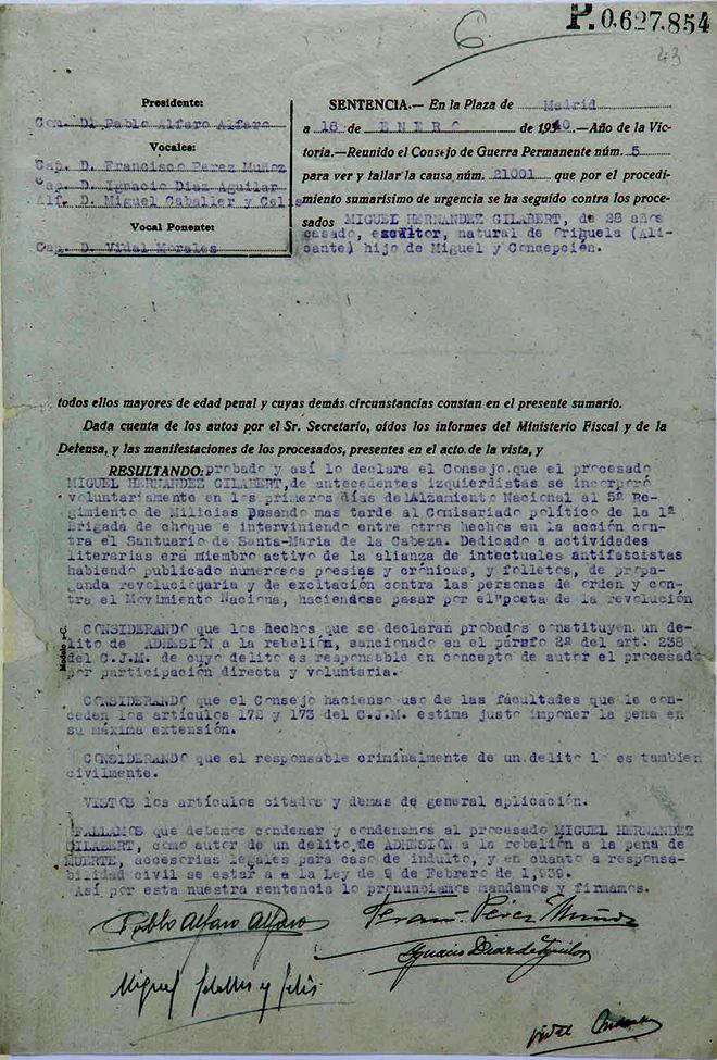 Documento que recoge la sentencia de condena a muerte a Miguel Hernández.
