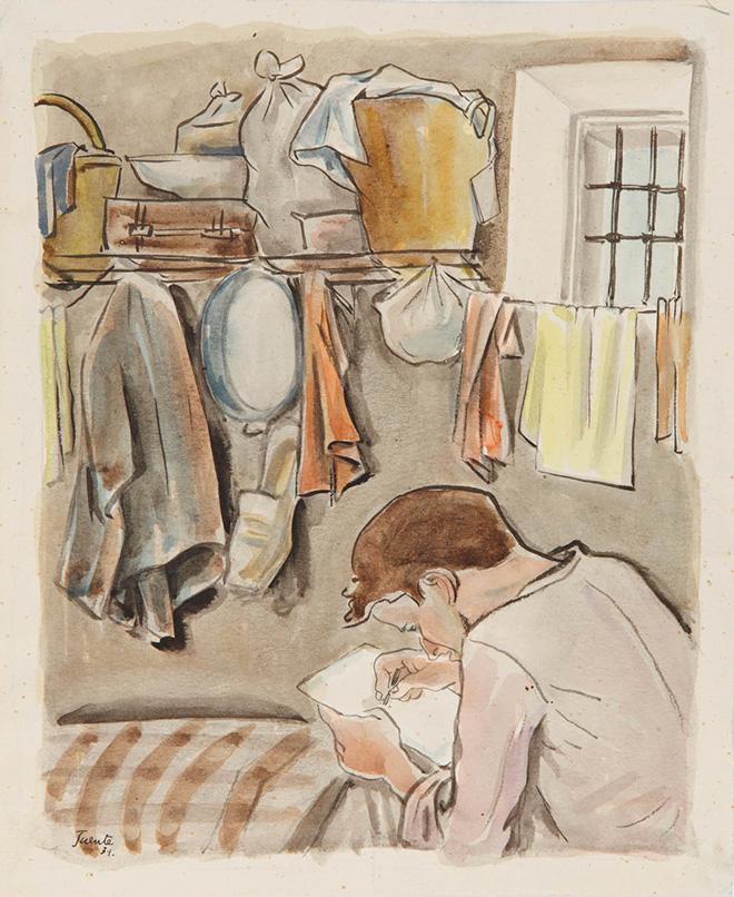 Interior de una celda en un dibujo de Ricardo Fuente fechado en 1939.