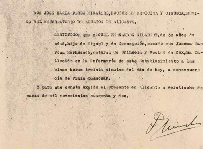 Certificado de defunción de Miguel Hernández, fechado el 28 de marzo de 1942.