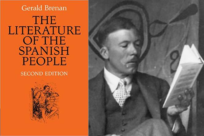 El hispanista Gerald Brenan junto a la portada de la segunda edición de The Literature of the Spanish People.