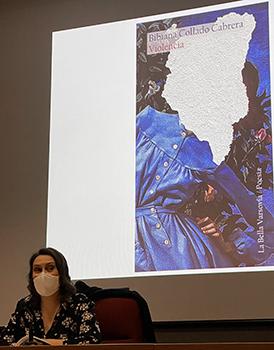 Bibiana Collado durante la presentación de 'Violencia' en el Museo de Bellas Artes de Valencia.